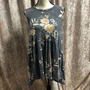 Tops - Floral Sleeveless Babydoll Top-Plus size